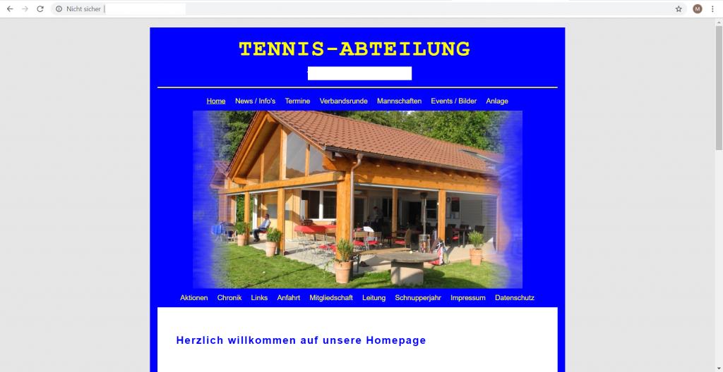 Website Tennisverein